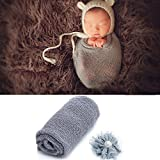 UIMagic Newborn Baby Photography Props - Long Ripple Wrap Blanket and Lace Beads Headband (Grey)