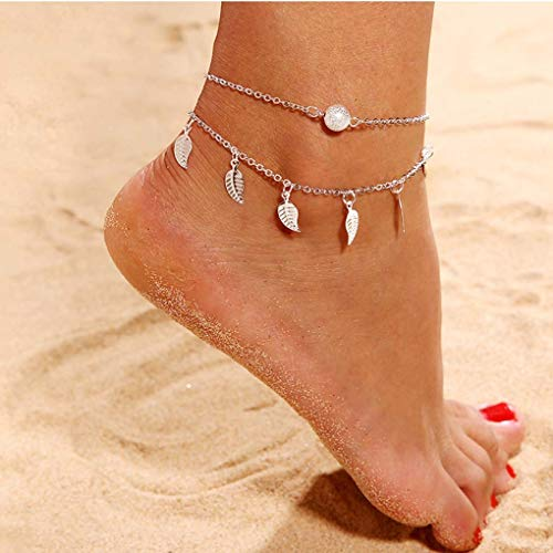 Yalice Layered Leaf Dangle Anklets Ankle Ball Tassel Foot Chain Bracelet Beach Jewelry for Women and Girls (Silver)