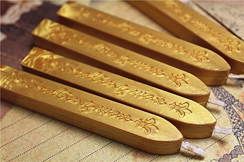 Manuscript Sealing Seal Wax Sticks Wicks for Postage Letter (5PCS Vintage gold)