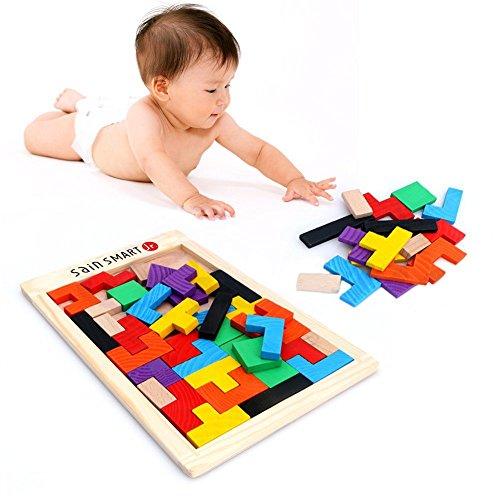51F3mLJXtcL - SainSmart Jr. Wooden Tetris Puzzle 40 Pcs Brain Teasers Toy for Kids, Wood Puzzle Box Brain Games Wood Burr Tangram Jigsaw Toy Children Days