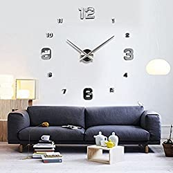 Elikeable Modern 3D Frameless Large 3D DIY Wall Clock Watches Hours DIY Decorations Home for Living Room Bedroom (silver2)