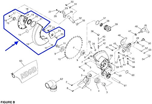 Saw Guard Assembly (S50300300 Ridgid MS1065LZ MS1065LZA Compound Miter Saw Lower Guard Assembly)