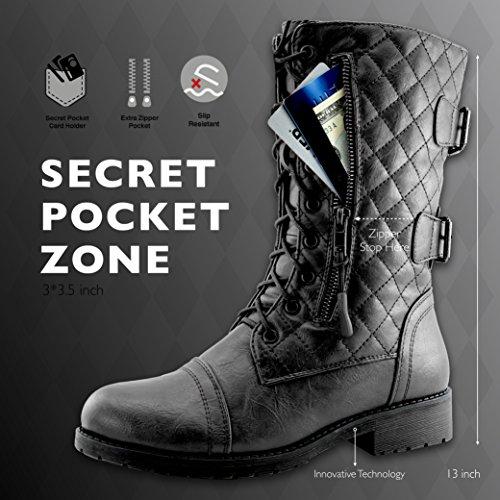 DailyShoes Damen Militärschnürstiefeletten Schnürstiefeletten Kniehohe Exklusive gesteppte Kreditkartenetui Quilted Black Pu