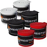 Meister Adult 180' Hand Wraps for MMA & Boxing - 3 Pairs Pack