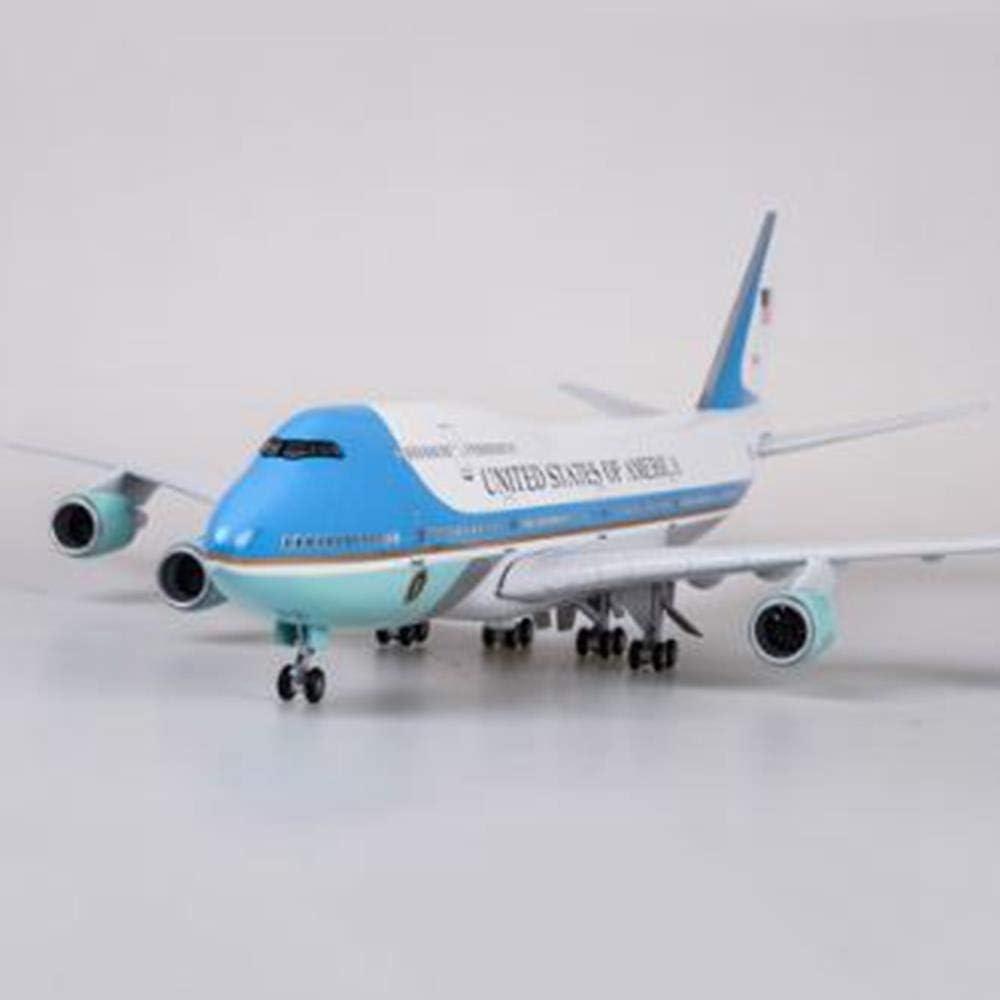 NKJWHB 47cm Modelo de avión Juguetes Boeing 747 Air Force One Modelo de avión con luz y Rueda 1/150 Escala fundición a presión de aleación de plástico Plano