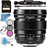 Fujifilm XF 16mm f/1.4 R WR Lens 16463670 + 67mm 3 Piece Filter Kit + 64GB SDXC Card + Lens Pen Cleaner + Fibercloth + Lens Capkeeper + 70in Monopod + Deluxe Cleaning Kit Bundle