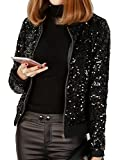 #5: JEERISE Women's Mermaid Sequin Blazer Long Sleeve Plus Size Clubwear Sparkly Bomber Jacket