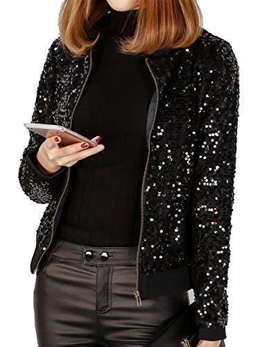 JEERISE Women's Mermaid Sequin Blazer Long Sleeve Plus Size Clubwear Sparkly Bomber Jacket,Black,4X (Bomber Long Sleeve T-shirt)