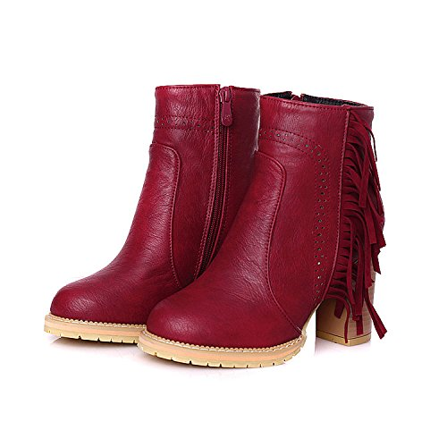 heels fringed ankle boots leather NSXZ women's 90160CM Chunky RED with boots qw1Y1pt