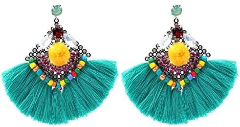 Crystal Beaded Tassel Dangle Earrings Vintage Statement Black Tassel Dangle Earrings for Women