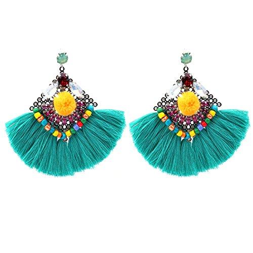 Crystal Beaded Dangle Earrings Statement Tassel Earrings Vintage Women Fashion Jewelry (Green)
