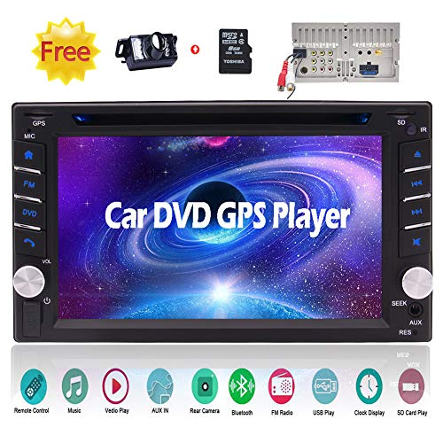 6.2 inch Double Din Car Video DVD CD Player in Dash Bluetooth Car Stereo System 2 DIN GPS Navigation Car Radio Tuner with Capacitive Touchscreen Automotive Head Unit + Remote + Free Rearview Camera