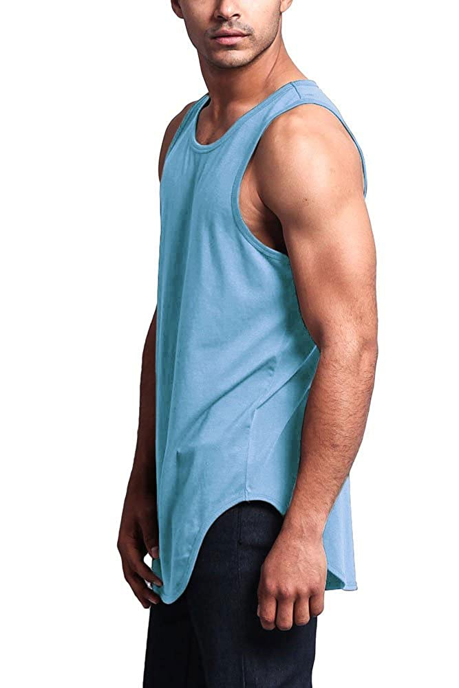 ec94a24cd19cd Victorious Solid Color Long Length Curved Hem Tank Top TT47 - A4D larger  image