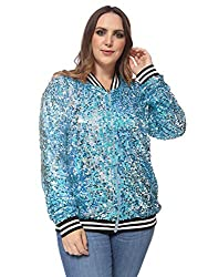 Plus Size Sequin Long Sleeve Zip Up Bomber Jacket