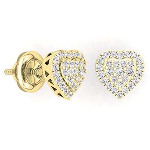 Diamond Heart Earrings Round Shaped - Dazzlingrock Collection 0.40 Carat (Ctw) 14K Round Cut White Diamond Ladies Heart Shaped Stud Earrings, Yellow Gold