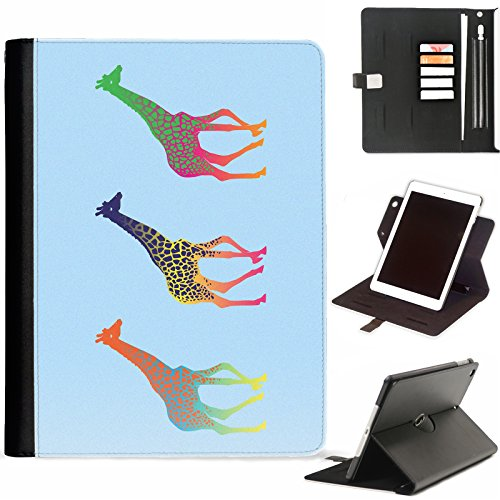 Hairyworm - Multi coloured giraffes Apple iPad Mini 4 leather side flip wallet 360 swivel case, folio cover with Apple pencil / pen holder, card slots, paper slot, metal buckle, stand points
