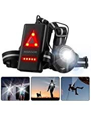 SGODDE Running Night Lamp, 90°Adjustable Beam Angle, Waterproof Super Bright LED Torch with 2 Lighting Modes USB Recharging Chest Flashlight for Night Runners, Joggers, Comping, Fishing, Climbing