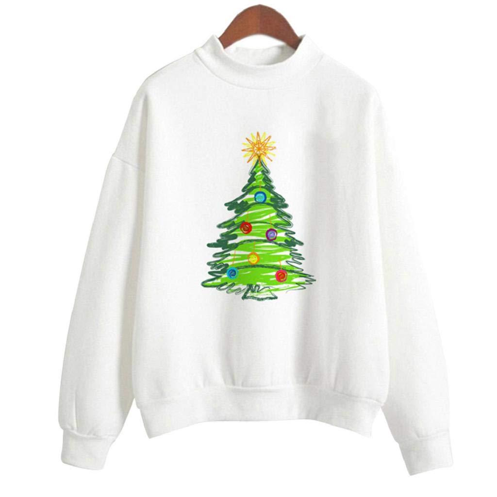 SHOBDW Mujeres Feliz Árbol de Navidad de Papá Noel de Impresión de Gran Tamaño de Manga Larga Top Señoras Blusa Suelta Cuello Redondo Pullover Camisa Suéter ...