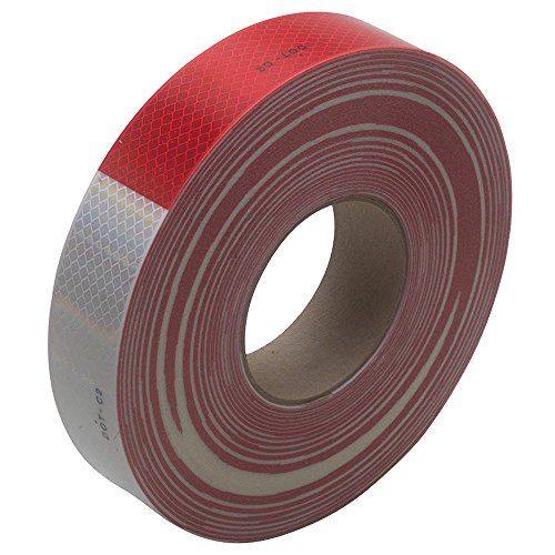 """3M T967983R Reflective Tape, 2"""" x 150' Red/White"""