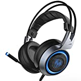 Somic G951 Silver Stereo Sound Gaming Headset for PC, Compatible with PS4 and Laptop, Vibration Bass,Mic and RGB LED lights, USB plug For Sale