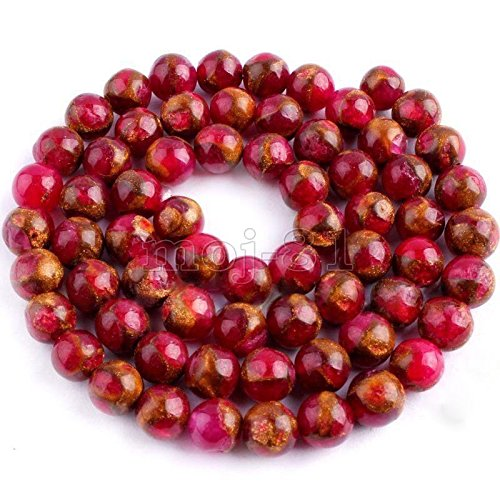 (8mm Natural Red Ruby in Quartz with Pyrite Round Gems Loose Beads 15'' AAA+)