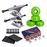 Cal 7 5.0 Inch Skateboard Trucks, 52mm Wheels, Plus Bearings Combo Set (Silver truck with green wheels)