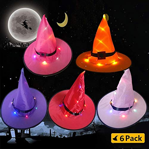 7mohugme Halloween Decorations Witch Hat Outdoor 6Pcs Hanging Lighted Glowing Witch Hat Decorations Halloween Lights String Battery Operated Halloween Decor for Outdoor, Yard, Tree (Best Halloween Decorated Yards)