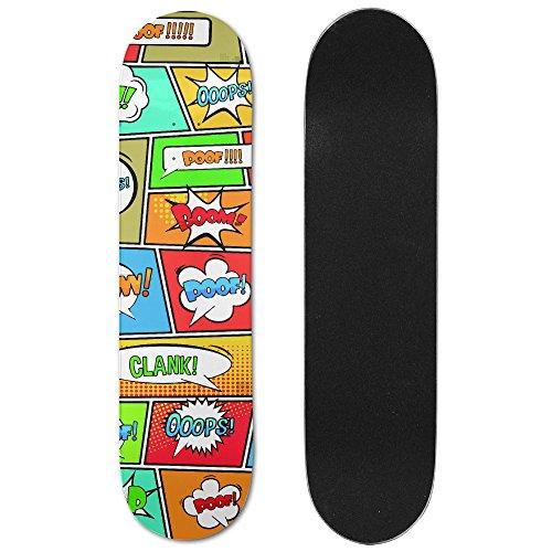 Pop Art Skateboard Deck (Clank Pop Art Style Maple Deck Skateboard Double-Kick Cruiser Skate Board)