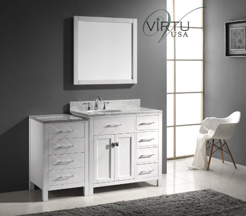 Virtu USA Caroline Parkway 57 inch Single Sink Bathroom Vanity Set in White w/Round Undermount Sink, Italian Carrara White Marble Countertop, No Faucet, 1 Mirror - MS-2157R-WMRO-WH