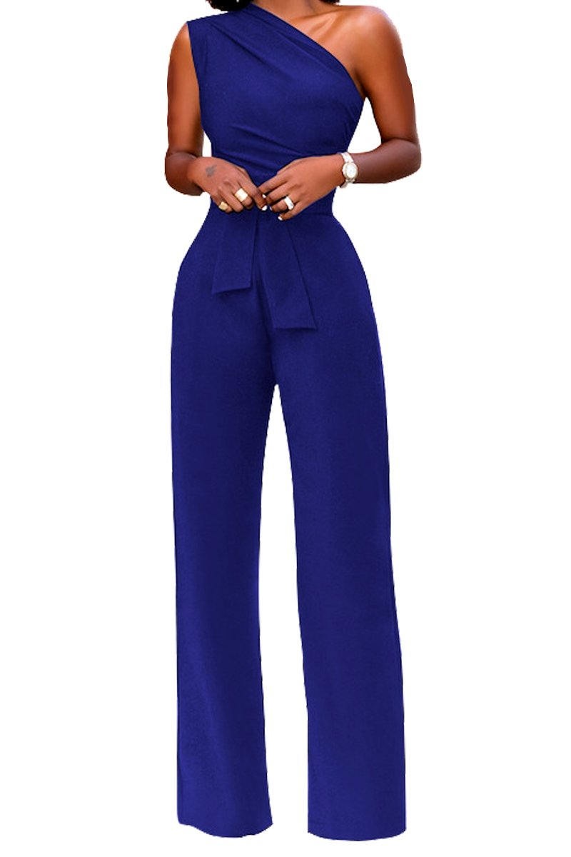 Women's Off One Shoulder Wide Leg High Waisted Long Pants Jumpsuits Romper with Belt Blue XL