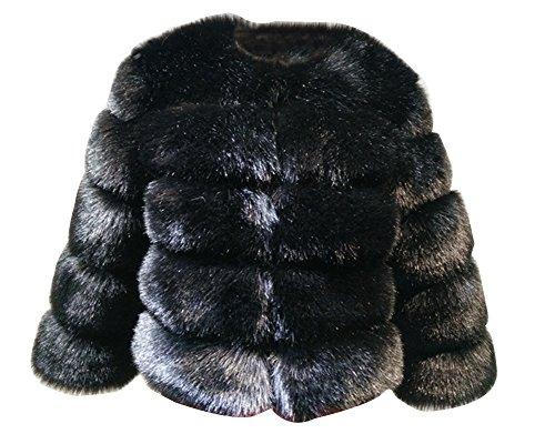 Cardigan Cabo Shaggy Parka Outwear Piel Abrigo Mujer Faux Gladiolus Fluffy Negro Chaquetas wSqURWz