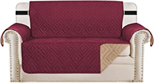 "Reversible Loveseat Cover Furniture Protector Anti-Slip Water Resistant 2 Inch Wide Elastic Straps Couch Covers Pets Kids Fit Sitting Width Up to 54""(Oversized Loveseat, Burgundy/Beige)"