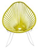 Innit Designs Acapulco Rocker, Yellow Weave on White Frame