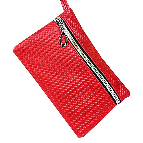mk. park - Women Card Holder Wallets Coin Key Purse Clutch Zipper Leather Small Change Bag (Red)