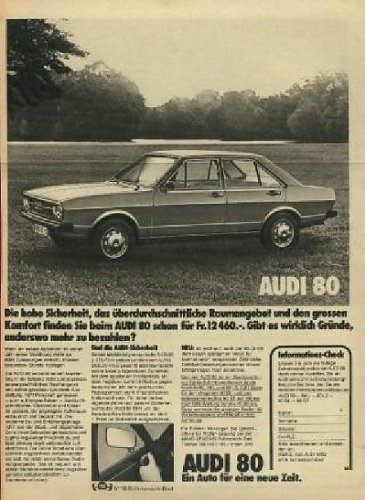 - 1975 AUDI 80 LIMOUSINE NON-COLOR AD - SWITZERLAND - GERMAN