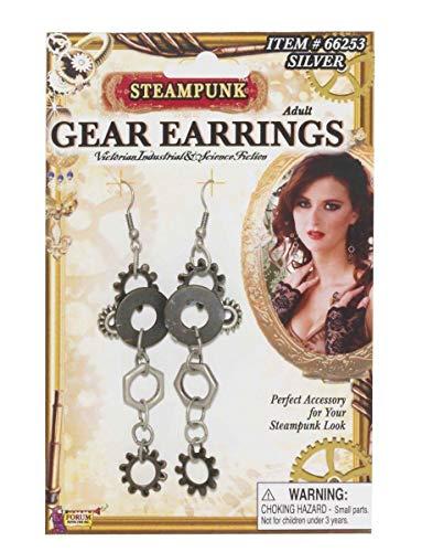 Forum novelties steampunk gear silver earrings