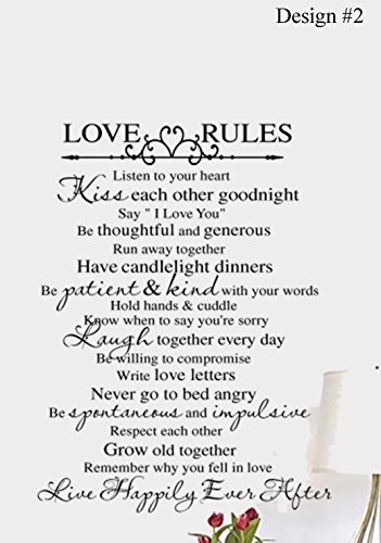 Amazoncom Love Rules Vinyl Wall Lettering Sayings Quotes Bedroom