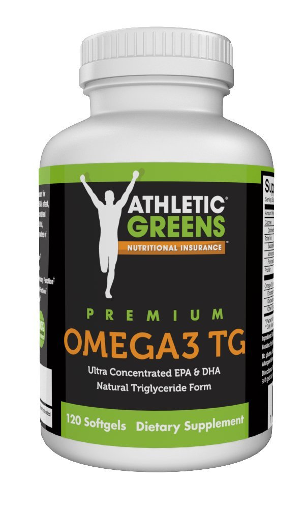 Athletic Greens Omega 3 Fish Oil Softgels, 1,300mg Omega 3 Fatty Acids per Serving, 120 Softgels