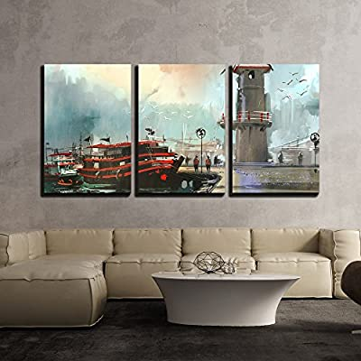 Incredible Design, Made With Top Quality, Fishing Boat in Harbor Digital Painting x3 Panels