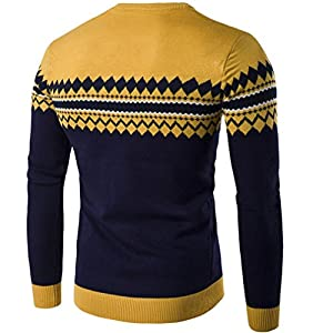 Longay Men's Sweater Plus Size Sweatshirt Slim Fit Long Sleeve Casual Warm Knitting Pullover Top Blouse (M, Yellow)