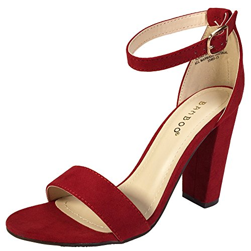 BAMBOO Women's Single Band Chunky Heel Sandal with Ankle Strap, Red Faux Suede, 8.0 B US (Womens Single)