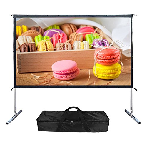- Projector Screen with Stand,100-inch 16:9 4K Projector Screen Portable Outdoor Campaign Movie Indoor Home Theater Projection Screen Assembling
