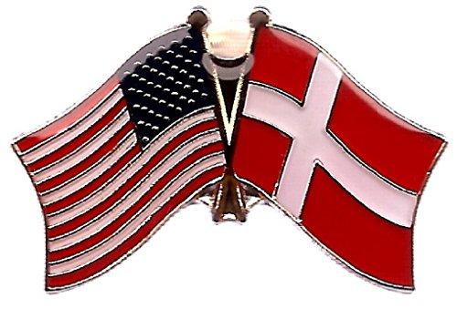 (Box of 12 Denmark & US Crossed Flag Lapel Pins, Danish & American Double Friendship Pin Badge )