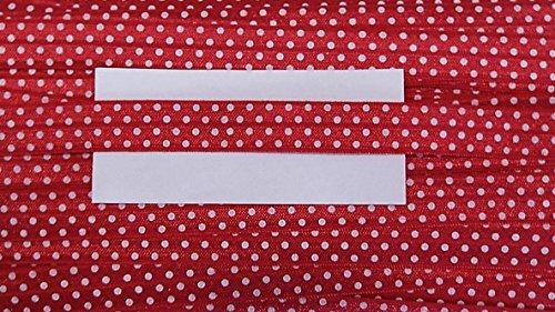 3 m elastisches Einfaßband 14 mm mit weißen Punkten rot