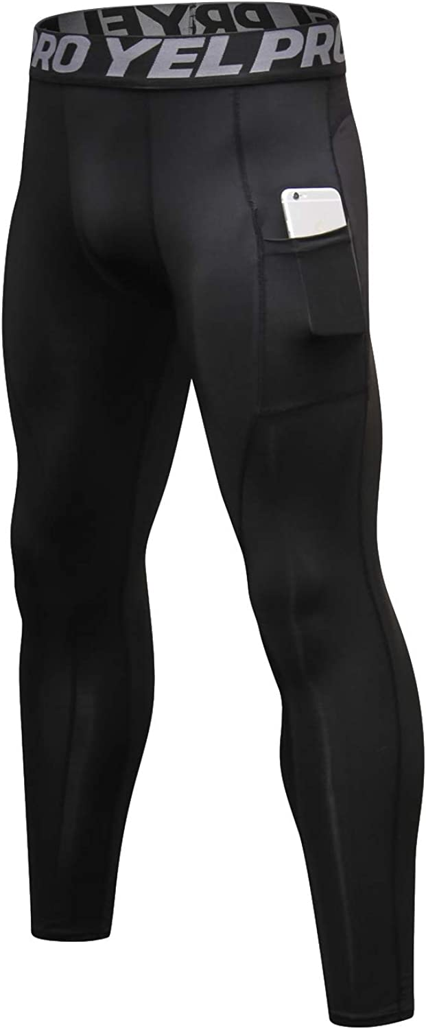 ShuQiaoSi Men's Compression Pants,Dry Cool Baselayer,Running Leggings Tights with Pocket