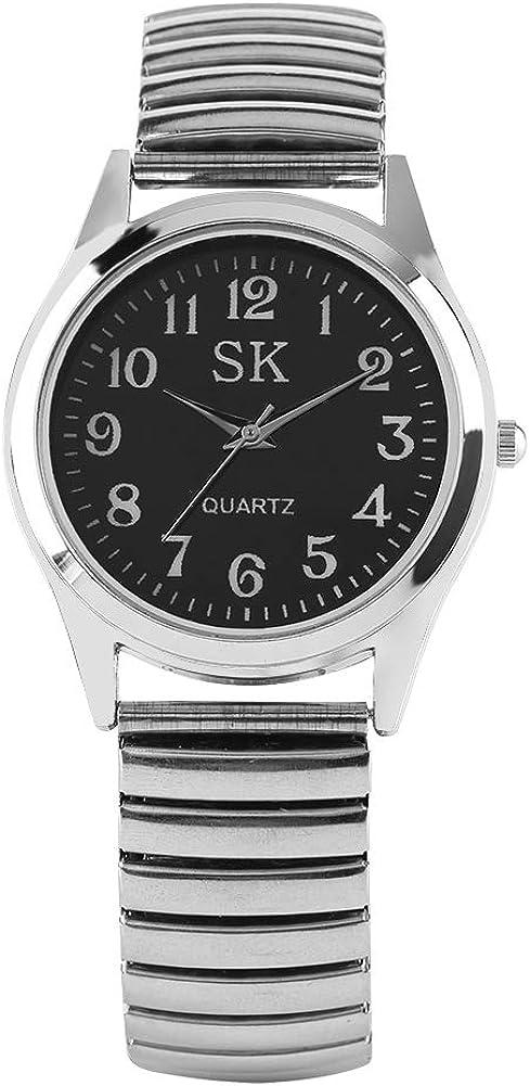 Reloj de Pulsera para Mujer, Correa de Acero Inoxidable Plateada elástica de Moda analógico de Cuarzo Relojes para señoras, Simple Reloj de Pulsera para niña