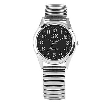 Reloj de Pulsera para Mujer, Correa de Acero Inoxidable Plateada elástica de Moda analógico de Cuarzo Relojes para señoras, Simple Reloj de Pulsera