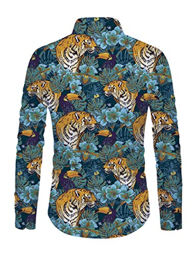 Down Casual Uomo Fit Floral Slim Lunga Top Tigers Hawaiian Style Manica Camicie Button Raisevern qF6wxdIEI