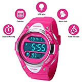 Boys and Girls Digital Watch Kids Sport Waterproof Outdoor Watches with Alarm, Stopwatch Children LED Electronic Wristwatch (Pink)