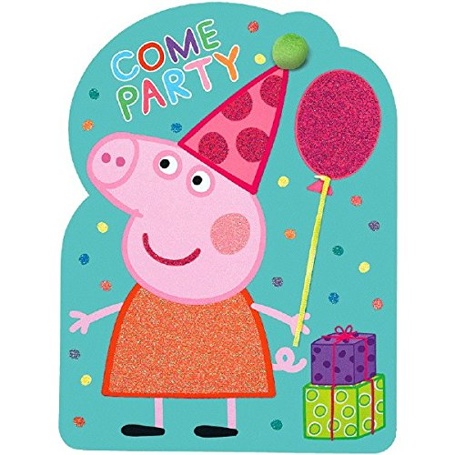 Piece Invitations 8 Party (Amscan Peppa Pig Come Party Deluxe Jumbo Postcard Invitation (8 Piece), 8